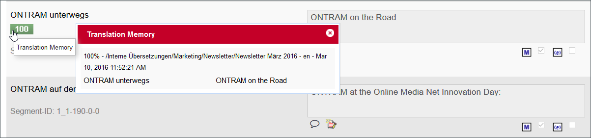 Translation Memory in ONTRAM