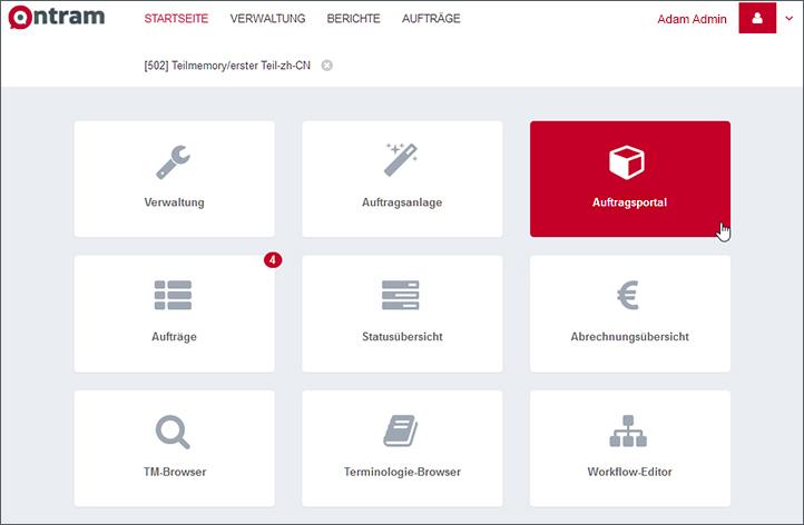 Screenshot ONTRAM-Startseite Kachel:Auftragsplattform