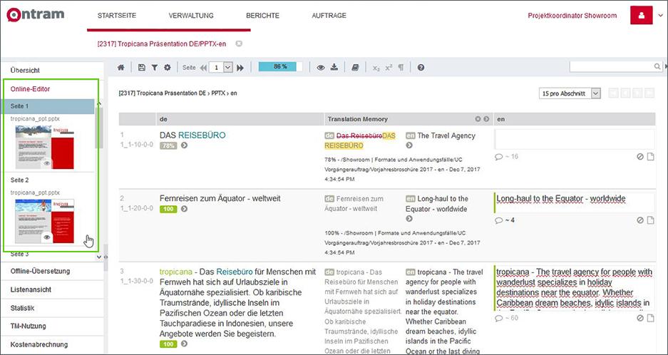 Live-Vorschau in ONTRAM: Thumbnails im Online-Editor